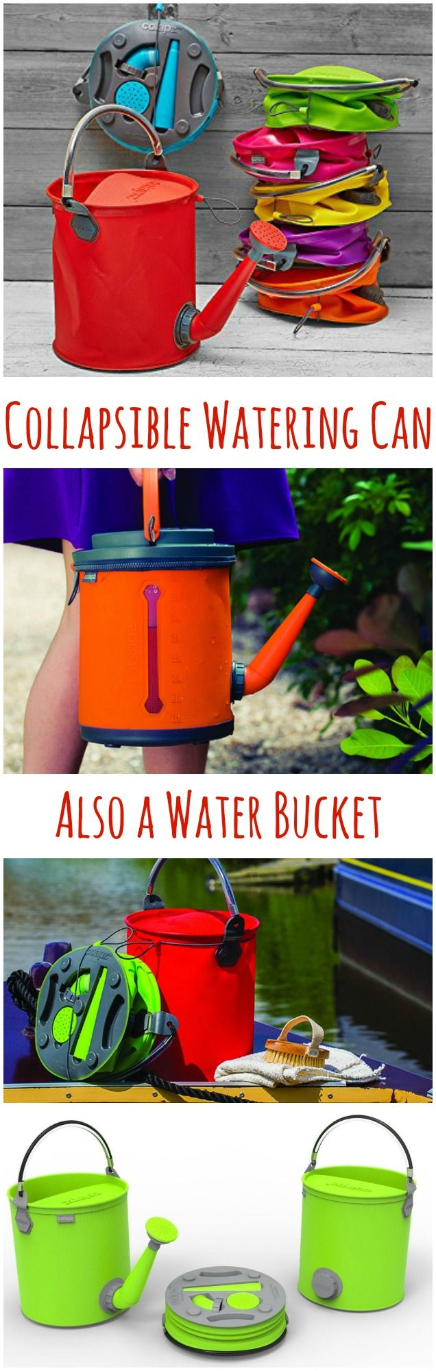 Collapsible 2-in-1 Watering Can functions as a watering can and converts to a 1.7 gallon capacity water bucket. #affiliate