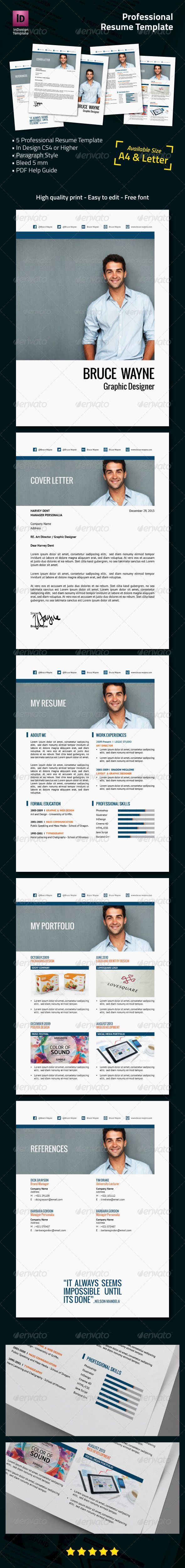 Professional Resume Template #GraphicRiver Professional Resume Template This item included 5 pages of Professional Resume. Use it for online purpose or print it as a high quality resume. It's simple to customize and organize. This professional resume works great for presenting your service and portfolio with a professional and clean layout. Features : 5 pages included Easy to Customize Built-in free fonts, link included in help file A4 and Letter US size Paragraph Style 300 Dpi – CMYK color…