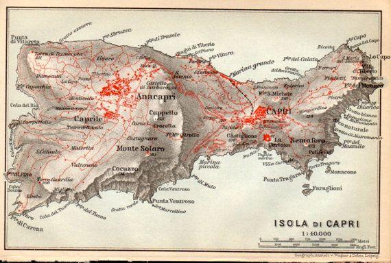 1911 Isola Di Capri Map Italy Campania Naples by Craftissimo, €24.95