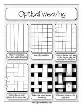 """This Op Art lesson includes the presentations, handouts, rubrics and labels to help you with your lesson from start to finish!  Your students will learn how the elements of art, LINE and VALUE, are used to create this Op Art design. This Lesson Packet includes 3 Op Art Lessons, 2 Presentations and """"Contrasting Colors"""" worksheets (74 pages total) for $6."""