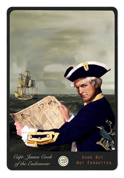 Captain James Cook of the Endeavour - from the Gone But Not Forgotten collection by Auckland artist, Marika Jones. Available as paper artprints from www.imagevault.co.nz