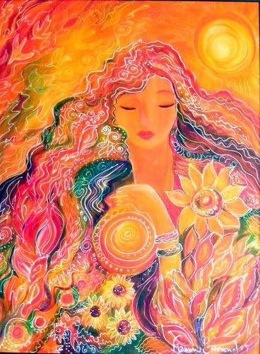 Goga - goddess of rain and a goddess of fire and sacred ceremony. (New Guinea)