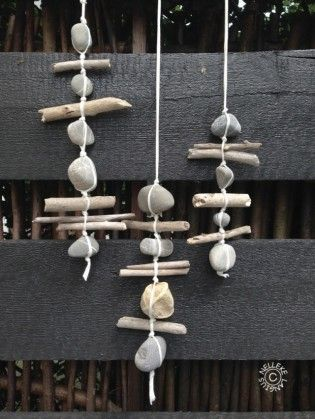 driftwood and rock garlands