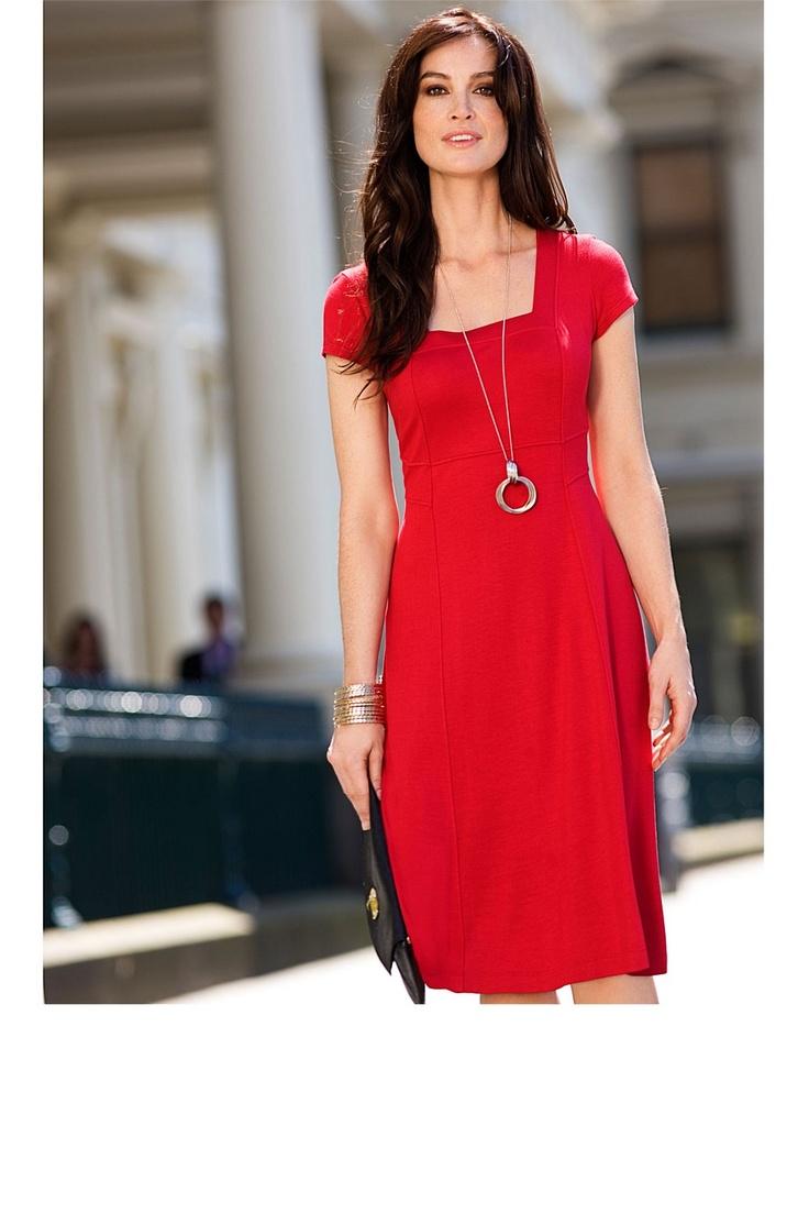Day Sun Dress - Dresses - Capture Square Neck Ponti Dress - EziBuy Australia