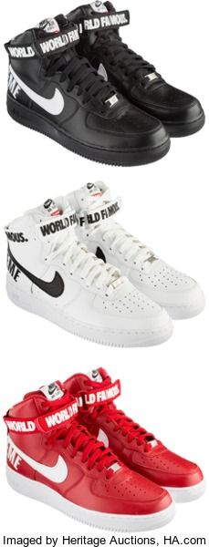 Other:Contemporary, Nike X Supreme. Air Force 1 High Supreme SP; 3 pairs,Black/White; White/Black; Varsity Red/White, 2014. Each pair size... (Total: 6 Items)