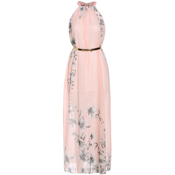 SheIn(sheinside) Pink Halter Floral Chiffon Maxi Dress ($17) ❤ liked on Polyvore featuring dresses, gowns, maxi dresses, long dress, robe, pink, maxi dress, pink ball gown, long floral dresses and long dresses