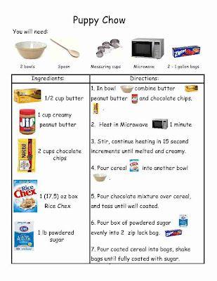 Puppy Chow Recipe w/ visuals - love the recipe idea for mini courses!