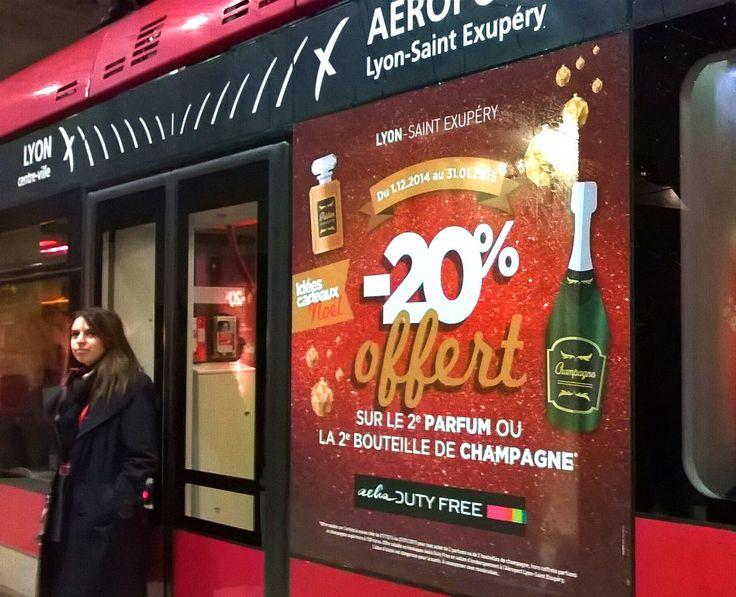 Animation réseau Rhônexpress avec offre des boutiques duty-free de l'aéroport Saint Exupery de Lyon