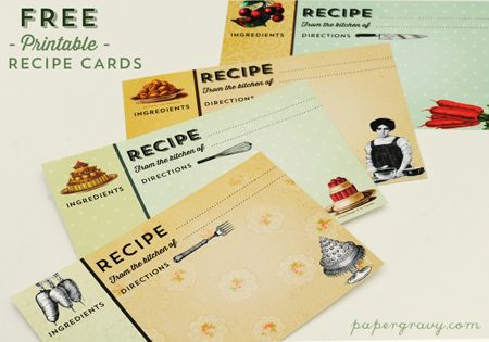 Printable Vintage Recipe Cards from the Graphics Fairy  http://thegraphicsfairy.com/printable-vintage-recipe-cards/