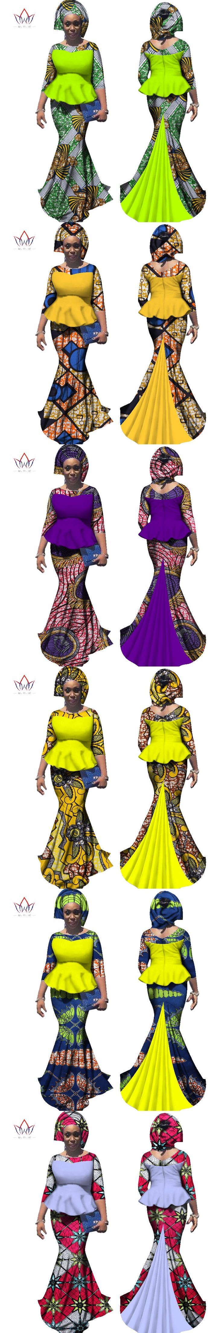 BRW 2017 Autumn African Skirt Sets for Women Bazin Elegany Africa Clothing Dashiki Flowers Traditional African Clothing WY2306