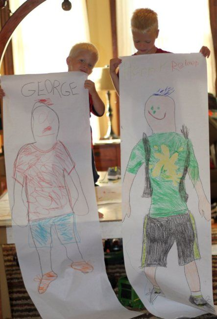 like this idea of a full-size body trace - I would use it as a great start of yr activity to get hands moving and thinking big - would get students to work around the theme 'What makes me...me' - using words and symbols they identity themselves with to fill their contour