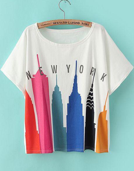 White Short Sleeve City Print Loose T-Shirt #Sheinside