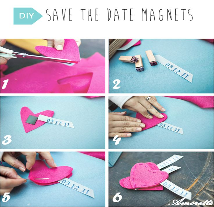 DIY: Save the Date Magnets Step 1: Cut felt (2 layers at a time) in the shape of a heart. Step 2: Cut a coordinating ribbon and stamp in your wedding date. Step 3: Place the dated ribbon coming out from one side of the heart. Step 4&5: Place the top layer over the bottom and begin hand stitching the heart together using embroidery thread. Step 6: TA-DAAAAAAH !   #DIY #savethedate #wedding #magnets #inspiration #pink