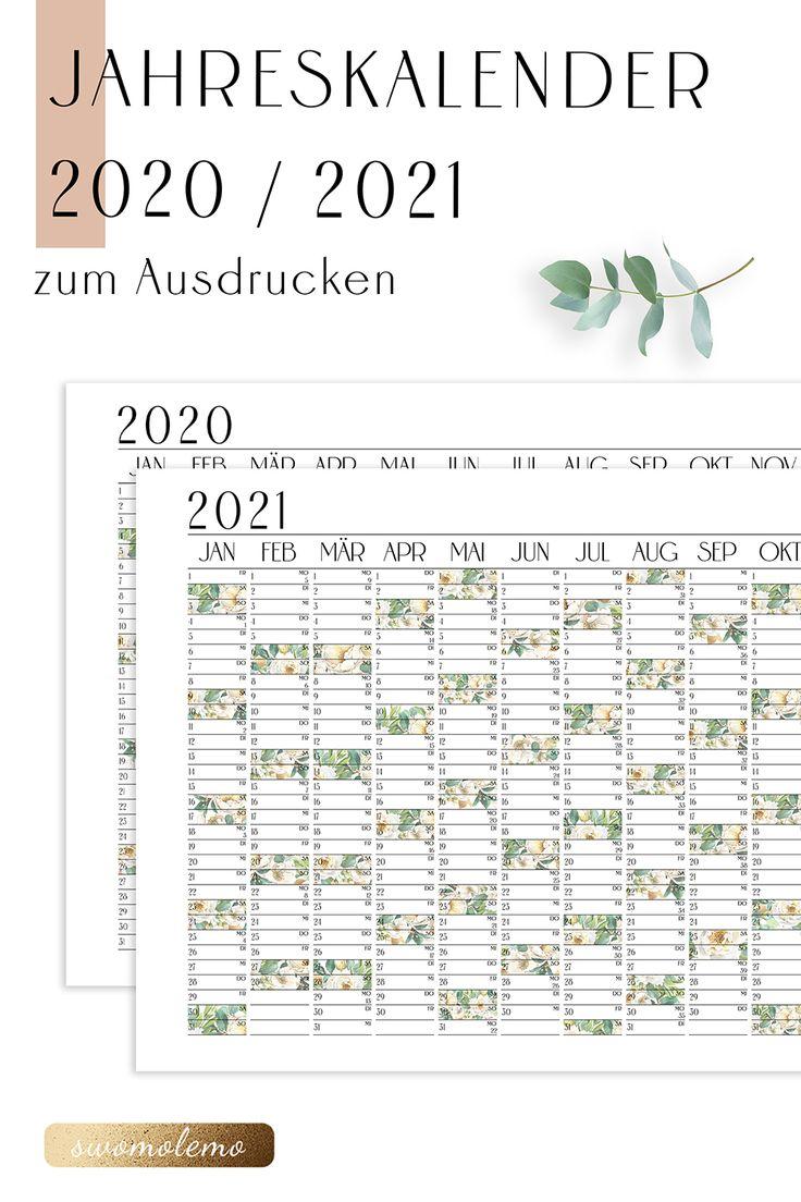 Jahresplaner 2020 / 2021 Kalender mit KW   Bloomy Green ...