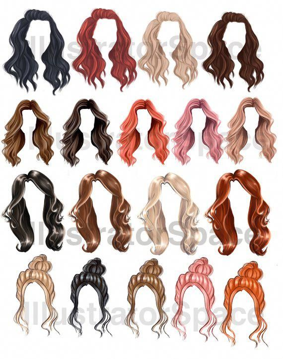 Hair Clip Art Digital Download Hair Set Clipart Custom Etsy In 2020 Hair Clipart Download Hair Hair Sketch
