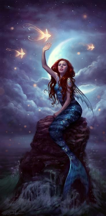 Mermaid at Night, Mermaid Art
