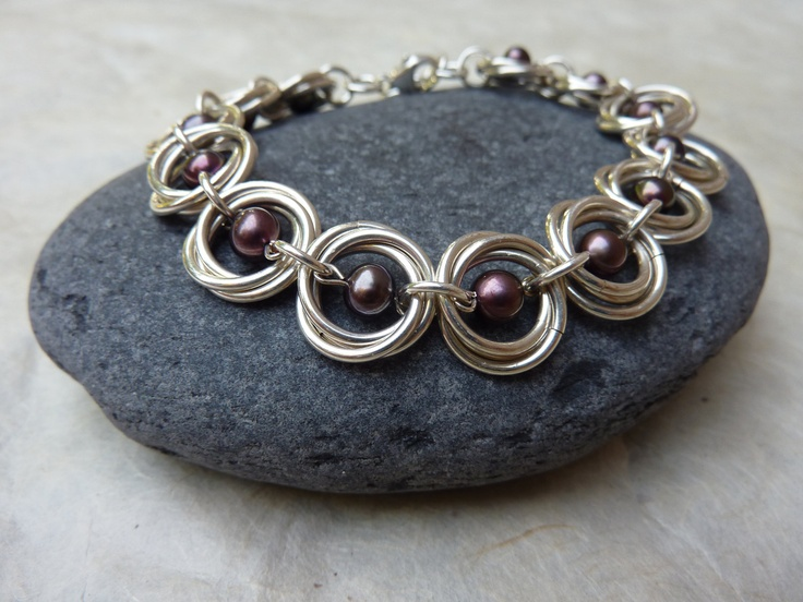 Pretty Handmade Silver Chainmaille Bracelet with Purple Freshwater Pearls