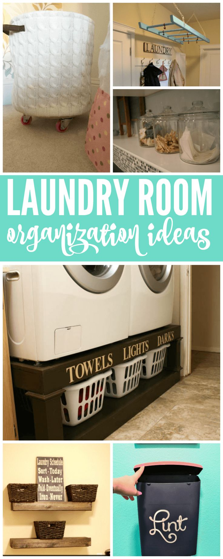 Laundry Room Organization Ideas! The TOP ideas for organizing your laundry room! Let's be honest, this may be where you spend a majority of your time. Get it clean and orderly!