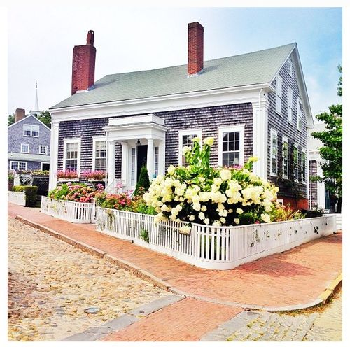 Nantucket shingle style with neoclassical corner piers for Nantucket shingle style