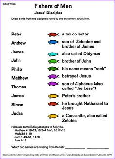 Fishers of Men - matching disciples with their descriptions.  Going to use this in my lesson plan this year.