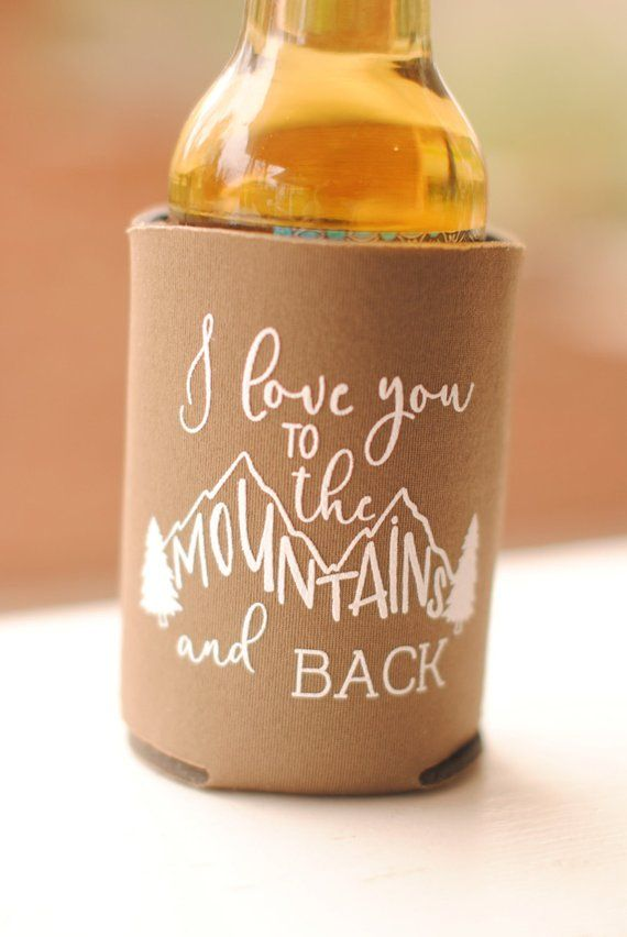 Fall Wedding Favors for Guests – Personalized Rustic Mountain Wedding Can Coolers, I Love You to the Mountains and Back Destination Wedding