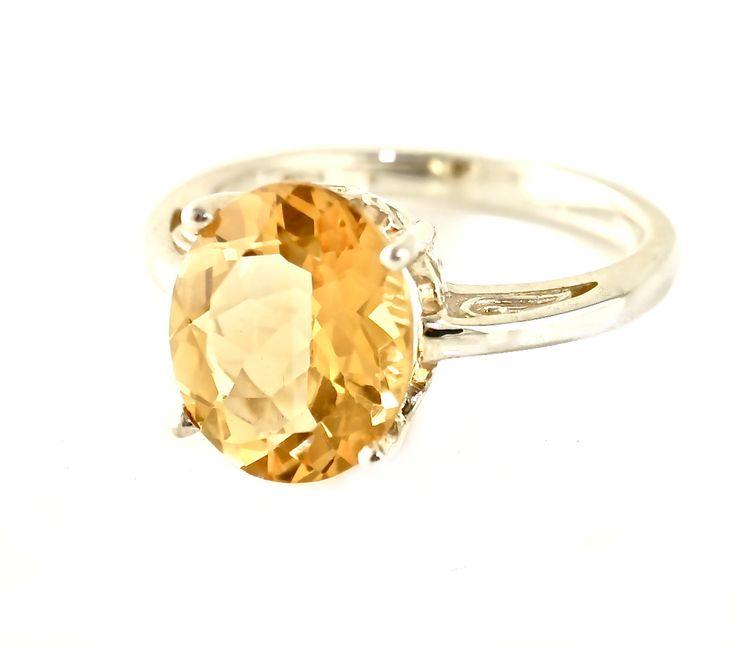 14K+Citrine+Ring+Oval+Flower+Setting+Custom+Gemstone+by+RareEarth,+$605.00