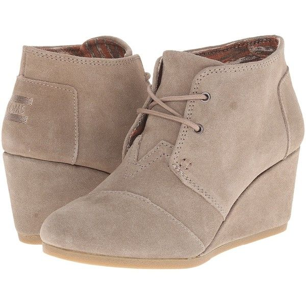 TOMS Desert Wedge (Taupe Suede) Women's Wedge Shoes ($89) ❤ liked on Polyvore featuring shoes, boots, ankle booties, heels, footwear, booties, lace up heel boots, suede lace up booties, taupe booties and toms booties