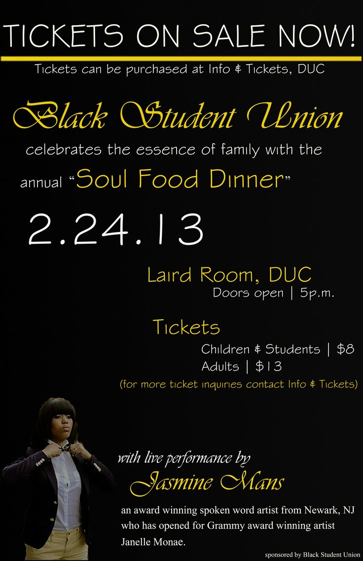 Help to support the Black Student Union in their Soul Food Dinner!