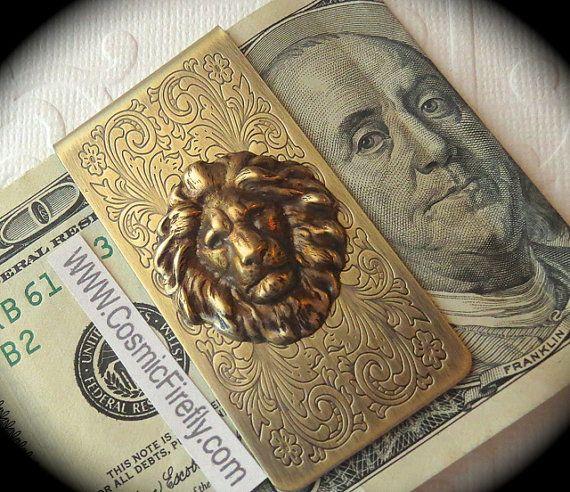 Laiton Lion argent Clip Steampunk argent Clip par CosmicFirefly, $45.00
