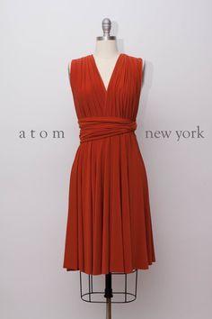 Rust Burnt Orange Infinity Dress Convertible Formal Multiway Wrap Dress Bridesmaid Dress Toga Dress Cocktail Dress Evening Dress Short