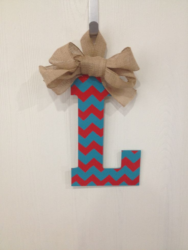 L initial door hanger. Red and turquoise chevron with ...