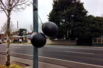 Black balloons have been taped around Bendigo to oppose mosque plans