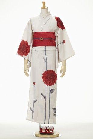 White Kimono with Red Poppy 憮松庵 : 浴衣 - ダリア