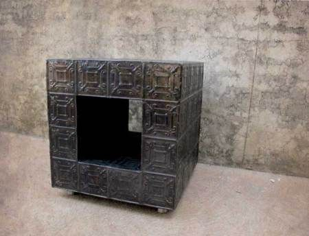 Side Table, using Reclaimed Pressed Tin Ceiling.