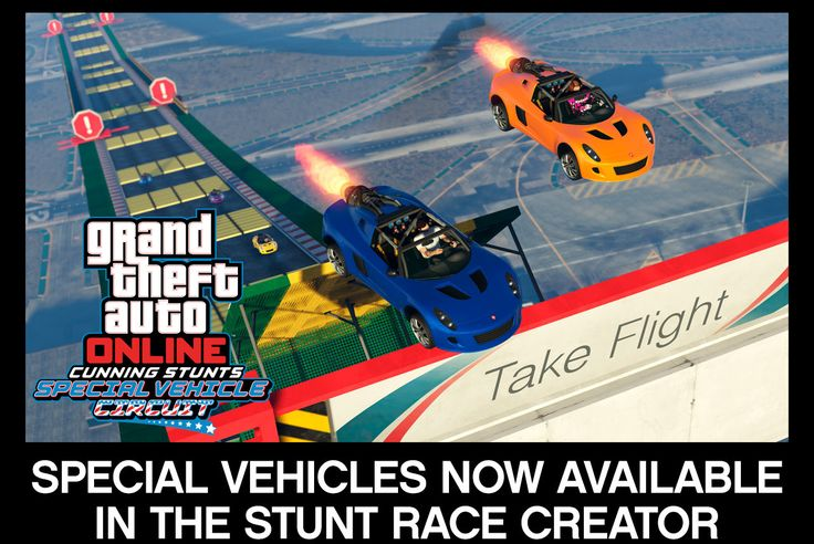 Stunt Races recently received a big addition with the Special Vehicle Circuit update and we're expanding the toolbox for the Rockstar community to take things up a few notches. In addition to the Rocket Voltic, Ruiner 2000 and Blazer Aqua becoming available in the Stunt Race Creator, we're adding a collection of new Props designed to highlight these vehicles' unique abilities, including Hurdles, Boost Refills and Explosive Crates. New psychedelic Stunt Tubes will send racers on a trip…