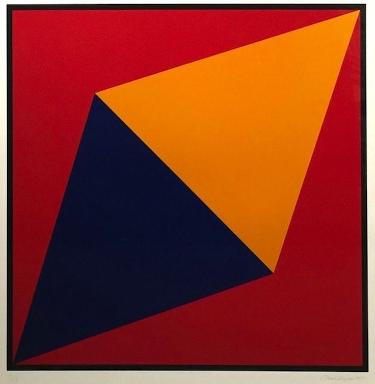 CHARLES HINMAN - Orange Triangle -  2012 -  4 color screenprint -  38 x 38 in. -  Edition of 15 -  Pencil signed, dated and numbered - Contact us at info@gsfineart.com or call us at 305-456-5478