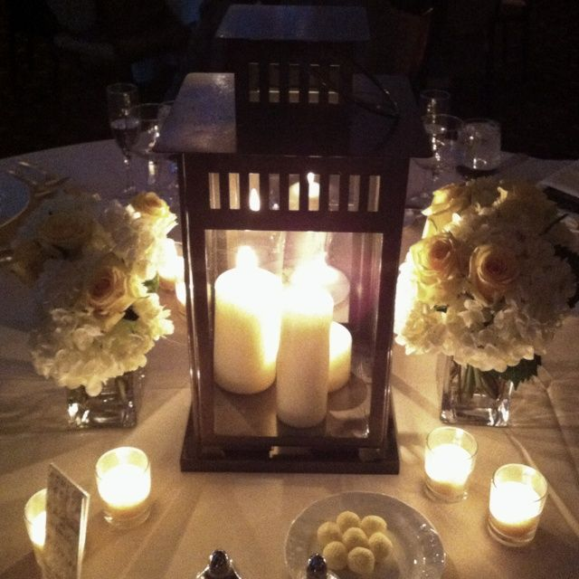 table centerpieces with lanterns | Lantern Table Centerpiece with multiple candles | Wedding Decor
