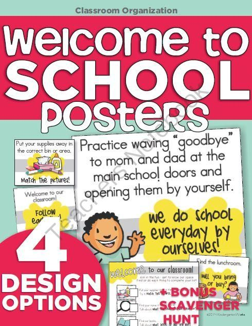 Welcome to School Posters from KindergartenWorks on TeachersNotebook.com - - Welcome students to school (or back to school) with these posters. Perfect for a parent night when students get acclimated with the classroom and can tour the school.