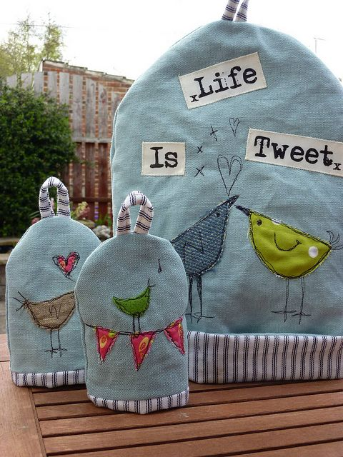 Life is Tweet cushion Tea & egg cosies by Touchy Feely Textiles, via Flickr
