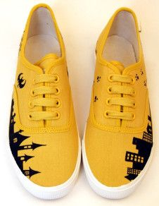 Yellow Castle Scrawl Canvas Lace Up Painted Shoes