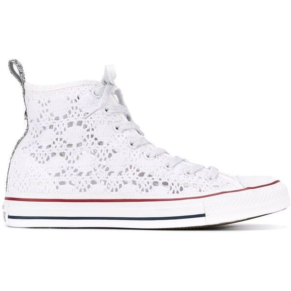 Converse Lace High Top Sneakers ($162) ❤ liked on Polyvore featuring shoes, sneakers, white, hi tops, white trainers, white shoes, white high top shoes and converse sneakers