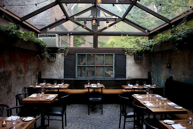 love this eating space at August restaurant in the West Village via nicole franzen.
