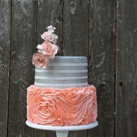 Silver  Peach Wedding Cake Picture