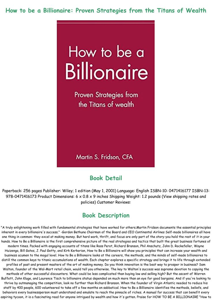 how to be a billionaire pdf
