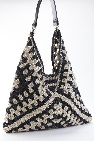 Geometric two tones hobo bag -   Crochet