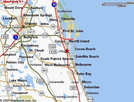 Map of Brevard County, Merritt Island, Cocoa Beach, Melbourne to