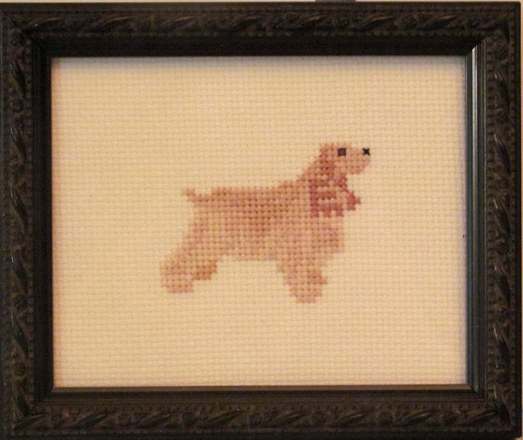 Cocker Spaniel Cross Stitched Full Body Dog.. $20.00, via Etsy.