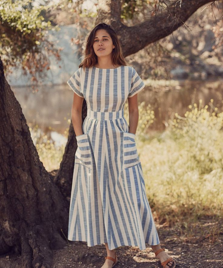 The Jane Dress | Washed Sky Stripe - #Blusasdemoda #Modacasual #Modaestilo #Modaparadamas #Outfitscasuales #Ropademoda