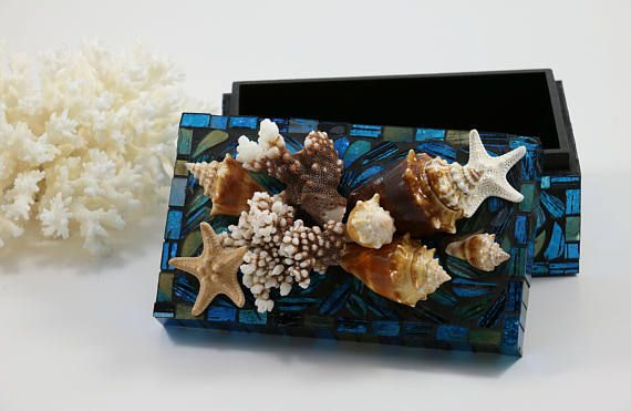 Beach Decor Seashell Box Shell Box Nautical Decor Coastal