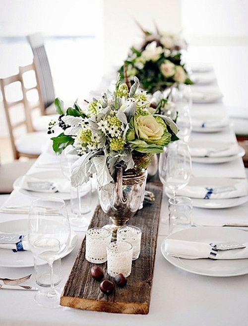 Décoration de table pour un Noël blanc